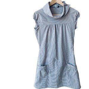 Twik Grey/White Striped Fold Over Collar Dress